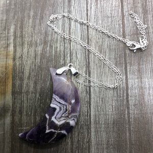 Jewelry - Chevron amethyst crystal moon pendant necklace